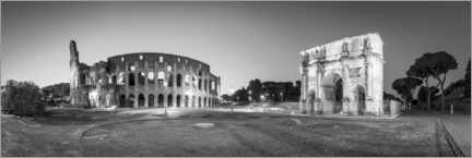 Póster Premium Colosseum and Arch of Constantine black and white