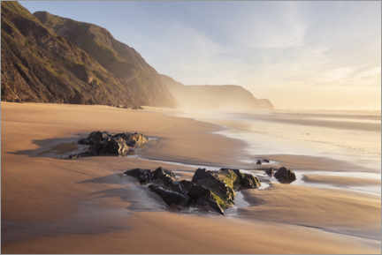 Autocolante decorativo  Deserted beach with cliffs at sunset - The Wandering Soul