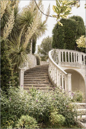 Póster Premium  French Vintage Garden Steps In The South Of France - Henrike Schenk