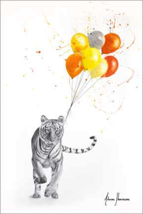 Póster Premium The Tiger and The Balloons