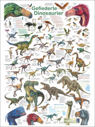 Quadro de madeira  Feathered dinosaurs - Planet Poster Editions