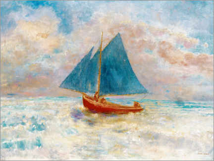 Póster Premium  Red boat with blue sails - Odilon Redon