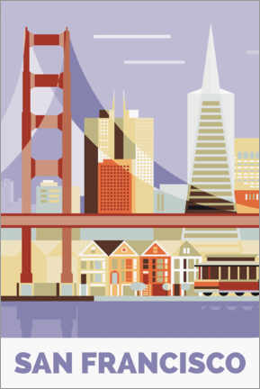 Póster Premium  San Francisco, Golden Gate Bridge - Nigel Sandor