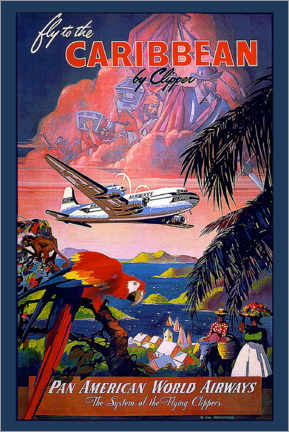 Quadro em acrílico  Fly to Caribbean by clipper - Travel Collection