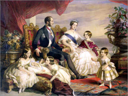 Póster Premium Queen Victoria and Prince Albert with Five of the Their Children