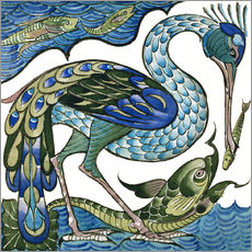 Autocolante decorativo  Heron and Fish - Walter Crane