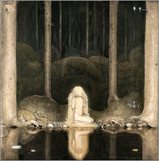 Quadro em plexi-alumínio  Princess Tuvstarr gazing down into the dark waters of the forest tarn - John Bauer