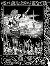 Autocolante decorativo  How Sir Bedivere Cast the Sword Excalibur into the Water - Aubrey Vincent Beardsley