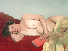 Quadro em PVC  Reclining Nude with Book - Felix Edouard Vallotton