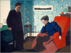 Quadro em alumínio  Interior With Red Armchair and Figures - Felix Edouard Vallotton
