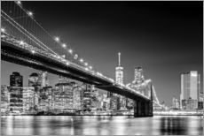 Autocolante decorativo  Brooklyn Bridge with Manhattan Skyline (monochrome) - Sascha Kilmer