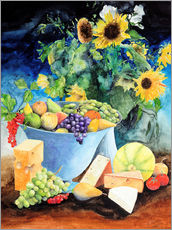 Autocolante decorativo  Still life with sunflowers, fruits and cheese - Gerhard Kraus