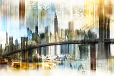 Autocolante decorativo  Skyline New York Abstrakt Fraktal - Städtecollagen