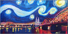 Quadro em plexi-alumínio  Starry Night in Cologne - Van Gogh inspirations on Rhine with Cathedral and Hohenzollern Bridge - M. Bleichner