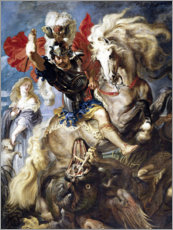 Quadro em alumínio  St. George and the Dragon - Peter Paul Rubens