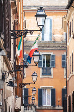 Autocolante decorativo  Street in the centre of old town with italian flags, Rome, Italy - Matteo Colombo