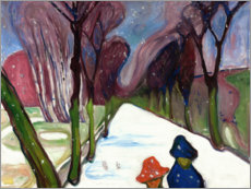 Póster Premium  Fresh snow in the alley - Edvard Munch