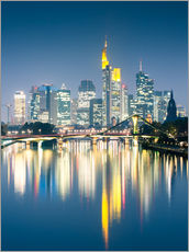 Autocolante decorativo  Frankfurt skyline reflected in river Main at night, Germany - Matteo Colombo