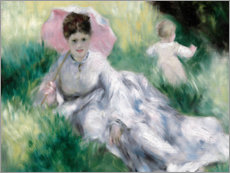 Quadro em tela  Dame and toddler on a hill - Pierre-Auguste Renoir