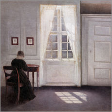 Autocolante decorativo  Interior from Strandgade with sunlight on the floor - Vilhelm Hammershøi