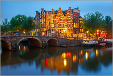 Autocolante decorativo  Night city view of Amsterdam