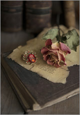 Autocolante decorativo  Old books, ring, letters and dry rose - Jaroslaw Blaminsky