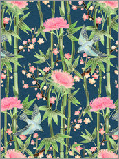 Quadro em plexi-alumínio  bamboo birds and blossoms on teal - Micklyn Le Feuvre