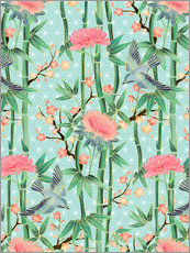 Autocolante decorativo  bamboo birds and blossoms on mint - Micklyn Le Feuvre
