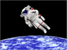 Autocolante decorativo  Astronaut floating in outer space above planet Earth - Elena Duvernay