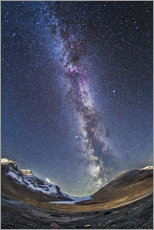 Quadro em plexi-alumínio  Milky Way over the Columbia Icefields in Jasper National Park, Canada. - Alan Dyer