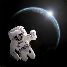 Autocolante decorativo  Astronaut floating in space as the sun rises on to Earth-like planet. - Marc Ward