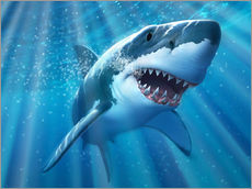 Autocolante decorativo  A Great White Shark with sunrays just below the surface. - Jerry LoFaro