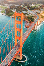 Quadro em plexi-alumínio  Flying over Golden gate bridge, San Francisco, California, USA - Matteo Colombo