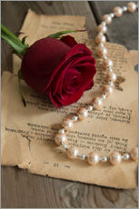 Autocolante decorativo  Red rose, pearls and letter - Jaroslaw Blaminsky
