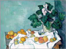 Póster Premium Still Life with Apples and a Pot of Primroses