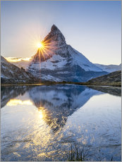 Quadro em plexi-alumínio  Riffelsee and Matterhorn in the Swiss Alps - Jan Christopher Becke