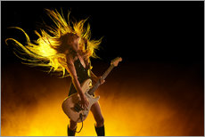 Autocolante decorativo  Rock girl with an electric guitar