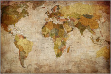 Autocolante decorativo  Mapa do mundo (vintage)
