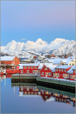 Autocolante decorativo  Pink sunset over the typical red houses reflected in the sea, Svolvaer, Lofoten Islands, Arctic, Nor - Roberto Sysa Moiola