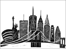 Autocolante decorativo  LINOCUT NEW YORK - Bianca Green