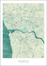 Autocolante decorativo  Mapa azul do Porto - Hubert Roguski