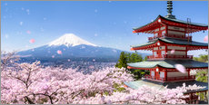 Quadro em plexi-alumínio  Chureito pagoda with Mount Fuji in Fujiyoshida, Japan - Jan Christopher Becke