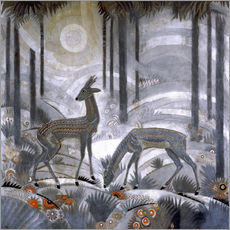 Autocolante decorativo  Two deer in the woods - Jean Dunand