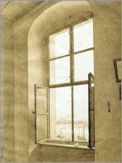 Quadro em plexi-alumínio  View from the studio - Caspar David Friedrich
