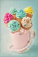 Quadro em plexi-alumínio  Colorful cupcake pops on blue background - Elena Schweitzer
