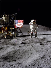 Autocolante decorativo Astronaut of the 10th manned mission Apollo 16 on the moon