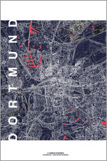 Quadro em plexi-alumínio  City of Dortmund Map midnight - campus graphics