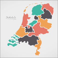 Autocolante decorativo Netherlands map modern abstract with round shapes