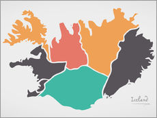 Autocolante decorativo Iceland map modern abstract with round shapes