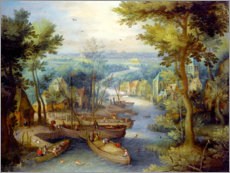 Póster Premium River landscape with bathing and boats